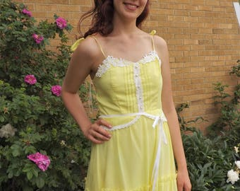 70s Long Yellow Dress Maxi Summer Vintage S