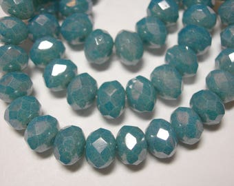 25 8x6mm Denim Blue Luster Czech Fire polished Rondelle beads
