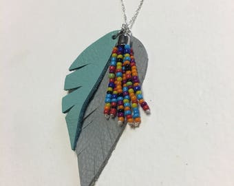 Rainbow Feather Necklace