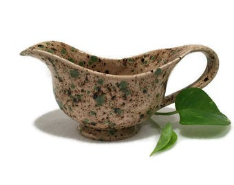 Rustic Gravy Boat / Sauce Bowl in Light Brown and Green - Ready to Ship