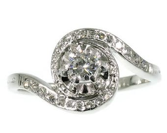 Whirlwind diamond engagement ring platinum center brilliant cut diamond .44ct vintage mid century ring jewelry
