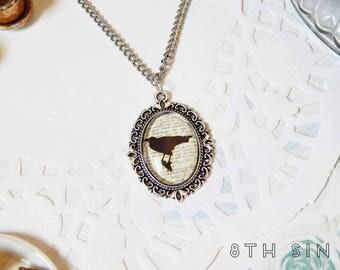 Antique Silver & Black Raven Cameo Necklace, Antique Silver Raven Necklace, Black Raven Necklace, Black Crow Necklace, Black Bird Necklace