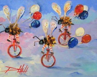 Fourth of July Biker Bees on Parade original 9x12 oil painting Art by Delilah