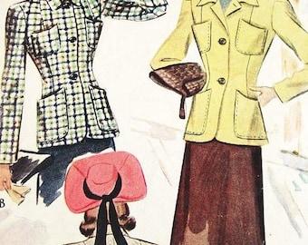 On Sale Vintage 1940s Jacket Pattern - McCall 4198 - Misses Jacket in 2 Variations - SZ 14/Bust 32