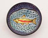 Small Ceramic Fish Bowl - Small Serving Bowl - Ice Cream Bowl - Cereal Bowl - Pottery Bowl - Majolica Bowl - Clay Dish - Fisherman Gift