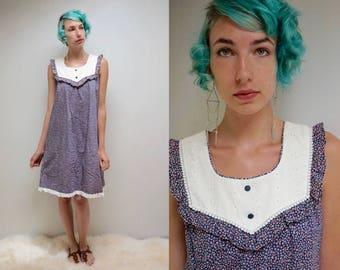 70s Calico SunDress  //  Muumuu Dress  //  Eyelet Lace Dress  //  THE SANDY