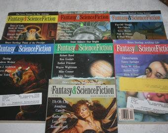 Seven 7 Vintage Fantasy & Science Fiction Magazines Sci Fi Fantasy Science Fiction 1992