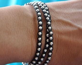 SALE Silver Wrap bracelet - sterling silver- triple wrap - Irish linen cord