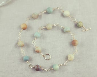 Amazonite and Gold Necklace