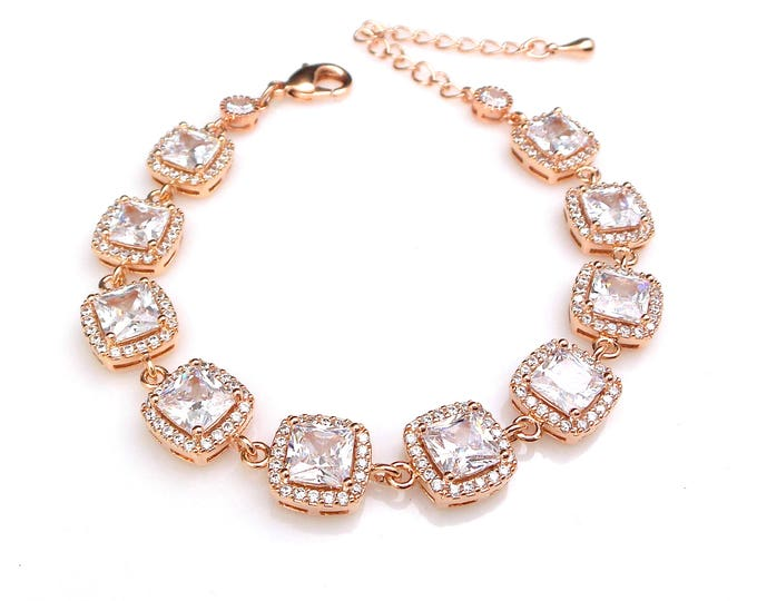 bridal bracelet jewelry wedding prom christmas gift party pageant micro pave halo Clear white square cubic zirconia rose pink gold bracelet