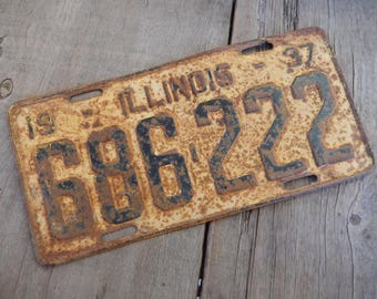 Vintage License Plate 1937 Illinois Rustic Old Metal Sign Rusty Wall Hanging, Cafe, Bar, Saloon, Coffee Shop Rusty Decor AMarigoldLife