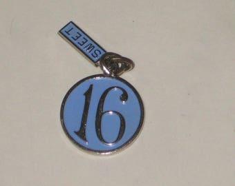 Happy Sweet 16 Charm Sterling Silver Blue Enamel 1960s