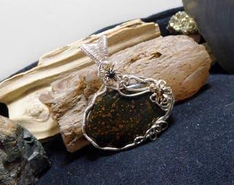 Green Jasper Silver Wire Wrapped Stone Necklace Pendant