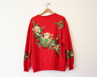 Vintage Ugly Crazy Cat Lady Christmas Sweater Sweatshirt