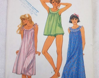 Simplicity 6627 Misses Nightgown Baby Doll Pajamas Pattern Medium 14 - 16 Uncut