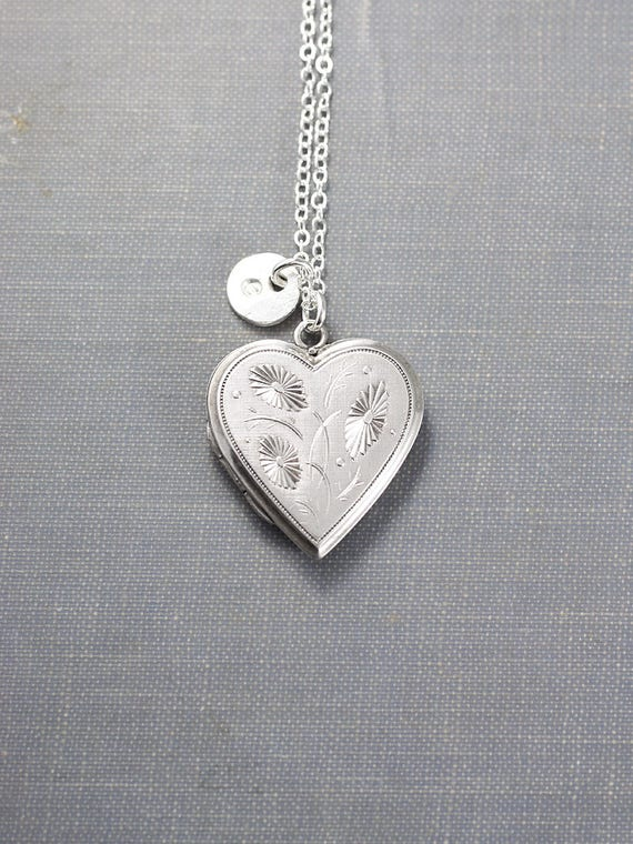 Sterling Silver Heart Locket Necklace, Vintage Photo Locket with Initial Charm - Silver Daisies