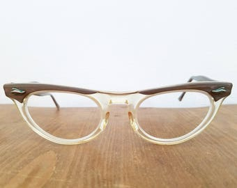 Vintage American Optical 1940s Clear and Pearl CatEye Eye Glasses Frames