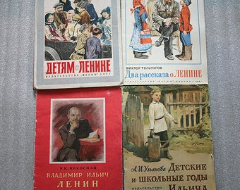 Four books about Vladimir Ilyich Lenin. Written by different authors. They were published in 1965, 1979. 1981. 1977g