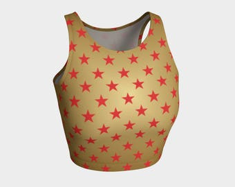 Gold Red Stars | Athletic Top | Size XS S M L XL | Bold Graphic Design | Active Wear Gym Tank Crop Singlet Yoga Dance Running Swimming
