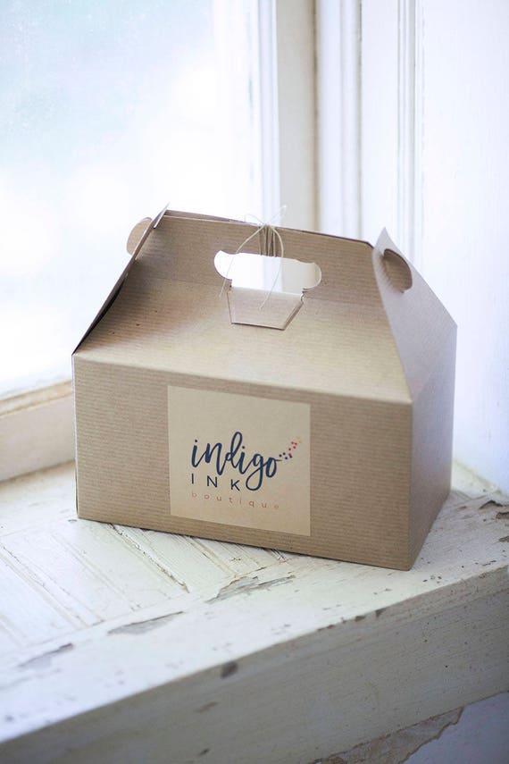 Large Gable Gift Box -9.5 x 9 x 5  Kraft Natural - Set of 11 w/ pinstripe texture   |  brown lunch box, bridesmaid gift box, groomsman gift
