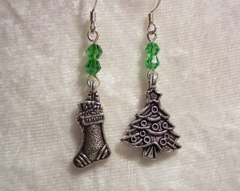 Christmas Tree and Stocking Charm Earrings, Green and Silver Earrings, Christmas Earrings, Holiday Earrings, Clip ons Available,
