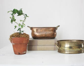 Pair of Brass and Copper Planters