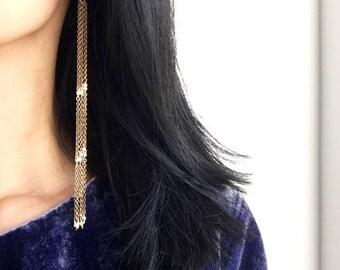 Long Brass Earrings, Shoulder Duster Earrings, Statement Earrings, Brass Jewelry