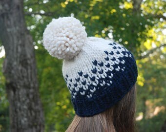 Fair Isle Knit Hat, Navy Blue and White Knit Hat, Women's Knit Hat, Men's Knit Hat, Winter Hat, Hand Knit Hat, Knit Hat, Chunky Knit Hat