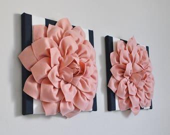 Floral Blush Wall Art, Rose Gold Stripe Print, Textured Canvas Set, Rose Gold Wall Art, Wall Decor, Girl Nursery Blush Print, Bathroom Art