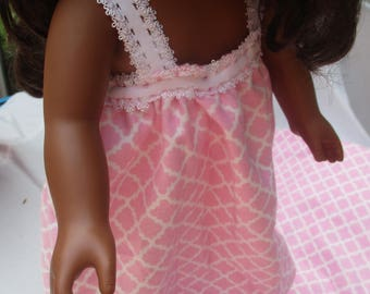 Pink and white doll nightgown, dress for 18 inch doll