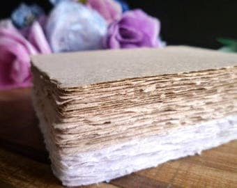 Handmade Paper for Direction Cards 4' x 5'' (12 pieces) - Blank Paper for DIY Directions, Accommodations, Registry and Info Cards