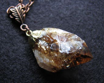 Citrine necklace | pendant | gold  | raw crystal | crystal point | antiqued copper | large