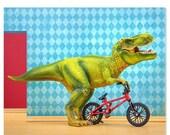 FALL SALE T. Rex dinosaur decor art print with Bmx: Shredder