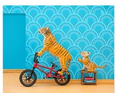 30% OFF SALE Tiger animal art print with BMX: Tiger Mom