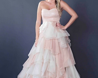 Blush Sleevless Beaded Chiffon Layered Ball Gown