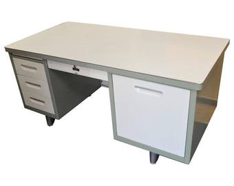 Mid-Century Industrial Tanker Desk of Steel with Chrome Trim