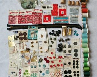 Large Lot of Vintage Sewing Assorted Notions Buttons, Thread, Hooks, Zipper, Etc Destash Lot