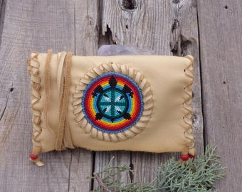 Beaded turtle totem clutch , turtle totem leather bag , handmade beaded turtle ceremony bag , shamans bag , beaded gift bag
