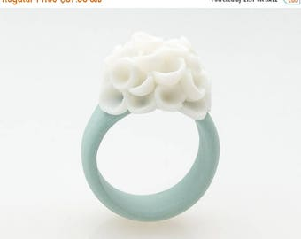 SALE Pastel turquoise  ring  porcelain cluster white flowers - El Medano , ceramic- statement ring - handcrafted jewelry - floral jewelry