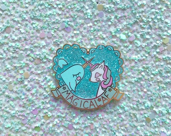 "1.5"" Magical AF Unicorn Narwhal pin"