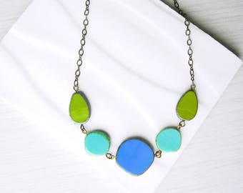 Multicolor Bib Necklace, Blue, Czech Glass Jewlery, Turquoise, Avocado Green, Colorful, Antiqued Brass, Gold Tone, Cobalt, Royal