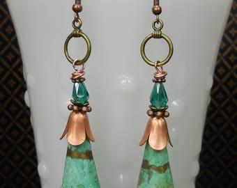 Bohemian Earrings - Boho Statement Earrings - Verdigris Patina Earrings - Verdigris Copper Earrings - Boho Chic Earrings - BOHO CONE DROPS