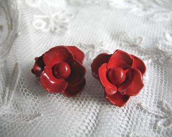 Vintage Enamel Red Rose Flower Earrings ~ Clip On