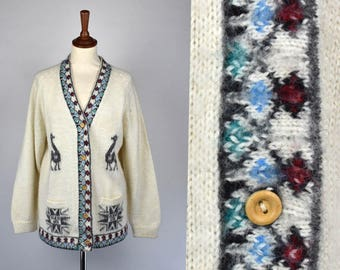 Vintage Alpaca Wool Cardigan Sweater