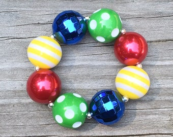 Back to School Jewelry, Primary Colors Bracelet, Toddler Bracelet, Chunky Bracelets, Girls Colorful Jewelry, Chunky Necklaces