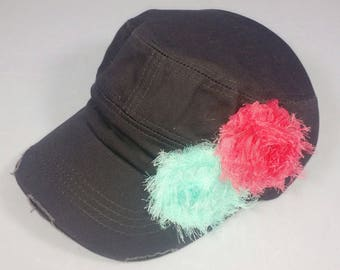 Charcoal gray army hat with distressed turquoise and pink flowers