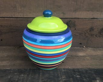 Extra Large Striped Ceramic Cookie Jar or Canister - Rainbow Stripes with Dark Navy Interior with Apple Green Lid and Dark Teal Knob