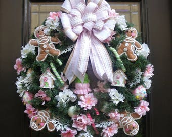 Gingerbread Wreath, Christmas Wreath, Gingerbread Man Wreath, Christmas Candy Wreath, Gingerbread Family Wreath