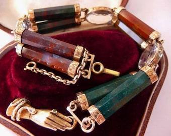 Victorian Scottish gold mounted agate bracelet   14K Victorian hand clasp   Scottish rock crystal 9K   large size   antique 1860   very rare