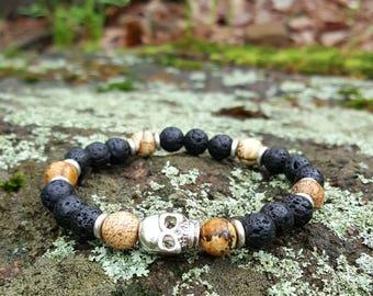 Black Lava Stretch Energy Bracelet Yoga Mala Beads Wrist Skull Picture Jasper